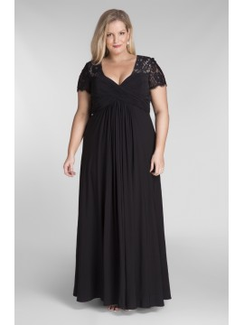 Floor Length Chiffon and Lace Evening Dress in Black