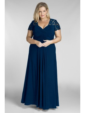 Floor Length Chiffon and Lace Evening Dress in Navy