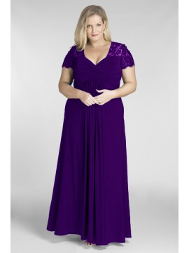 Floor Length Chiffon and Lace Evening Dress in Purple