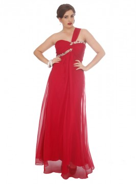 One Shoulder Crystal and Chiffon Evening Dress